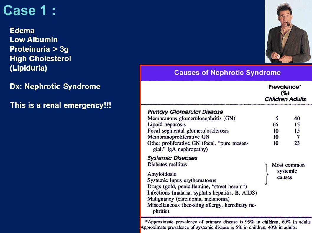 Case 1 : Edema Low Albumin Proteinuria > 3g High Cholesterol