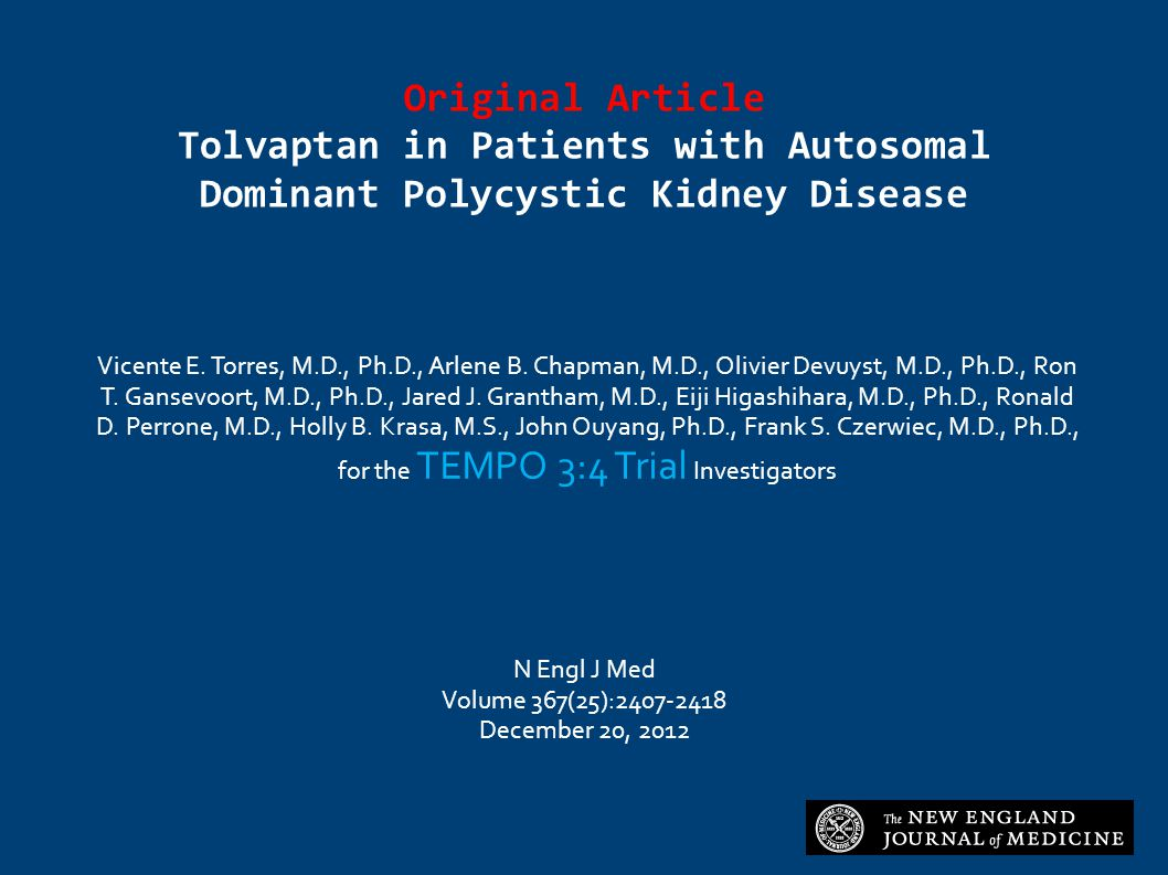 Original Article Tolvaptan in Patients with Autosomal Dominant Polycystic Kidney Disease