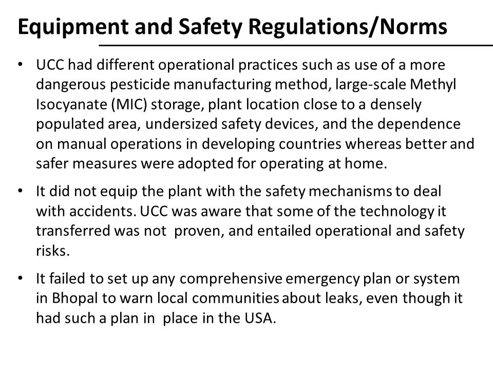 Equipment and Safety Regulations/Norms