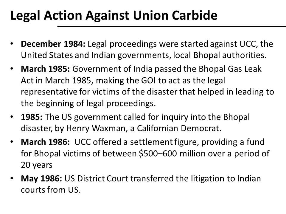 Legal Action Against Union Carbide