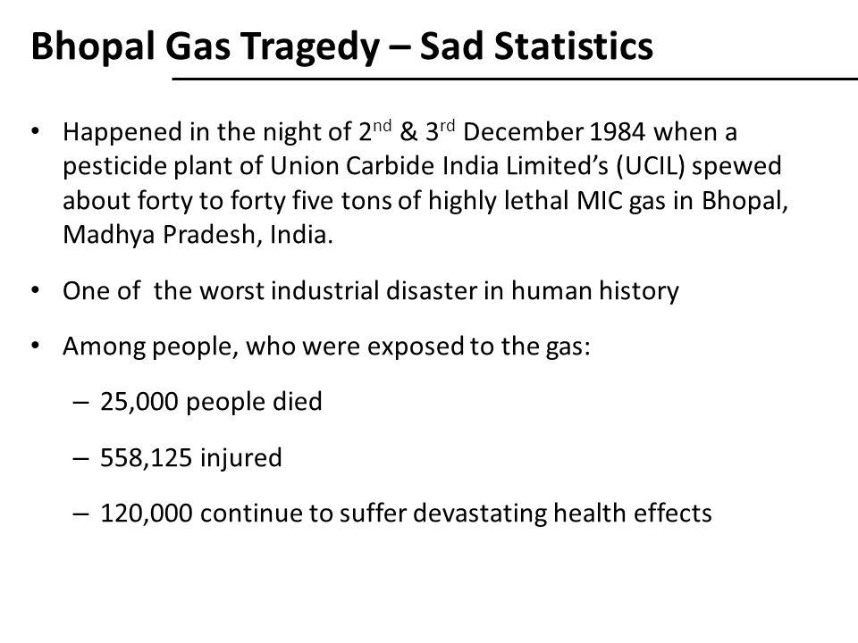 Bhopal Gas Tragedy – Sad Statistics