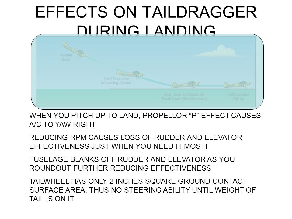 EFFECTS ON TAILDRAGGER DURING LANDING