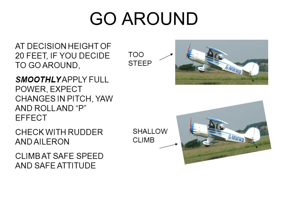 GO AROUND AT DECISION HEIGHT OF 20 FEET, IF YOU DECIDE TO GO AROUND,