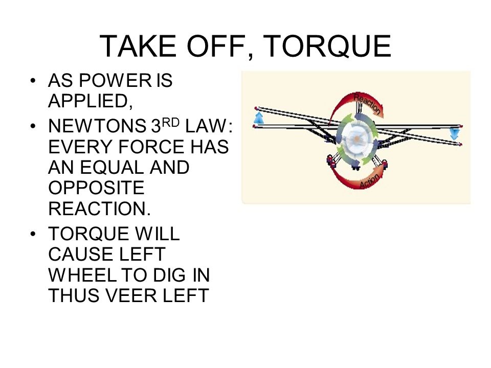 TAKE OFF, TORQUE AS POWER IS APPLIED,