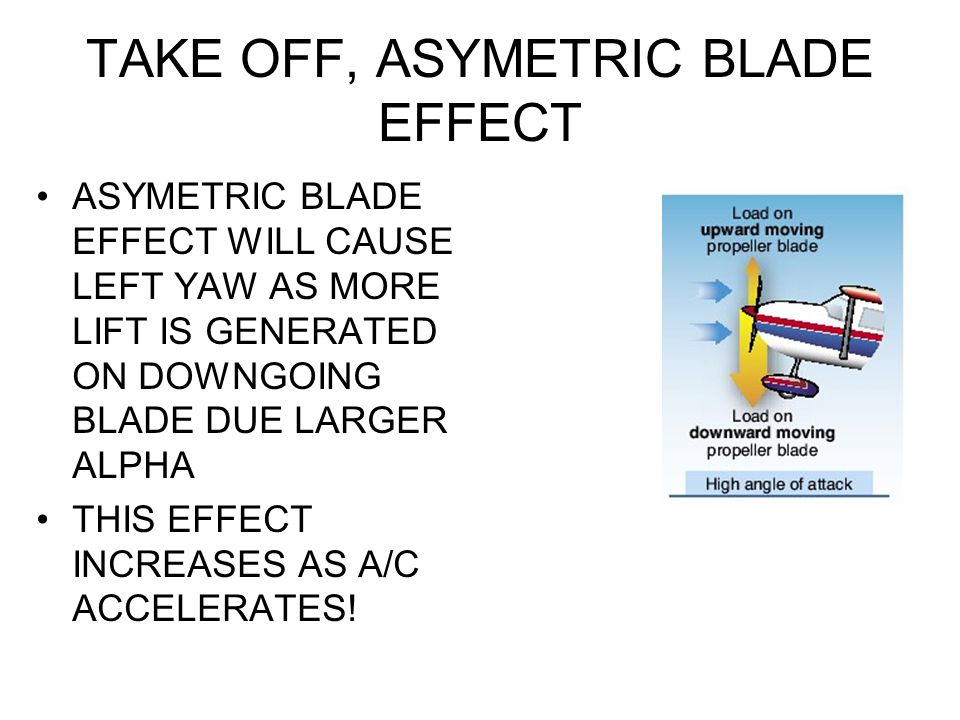 TAKE OFF, ASYMETRIC BLADE EFFECT