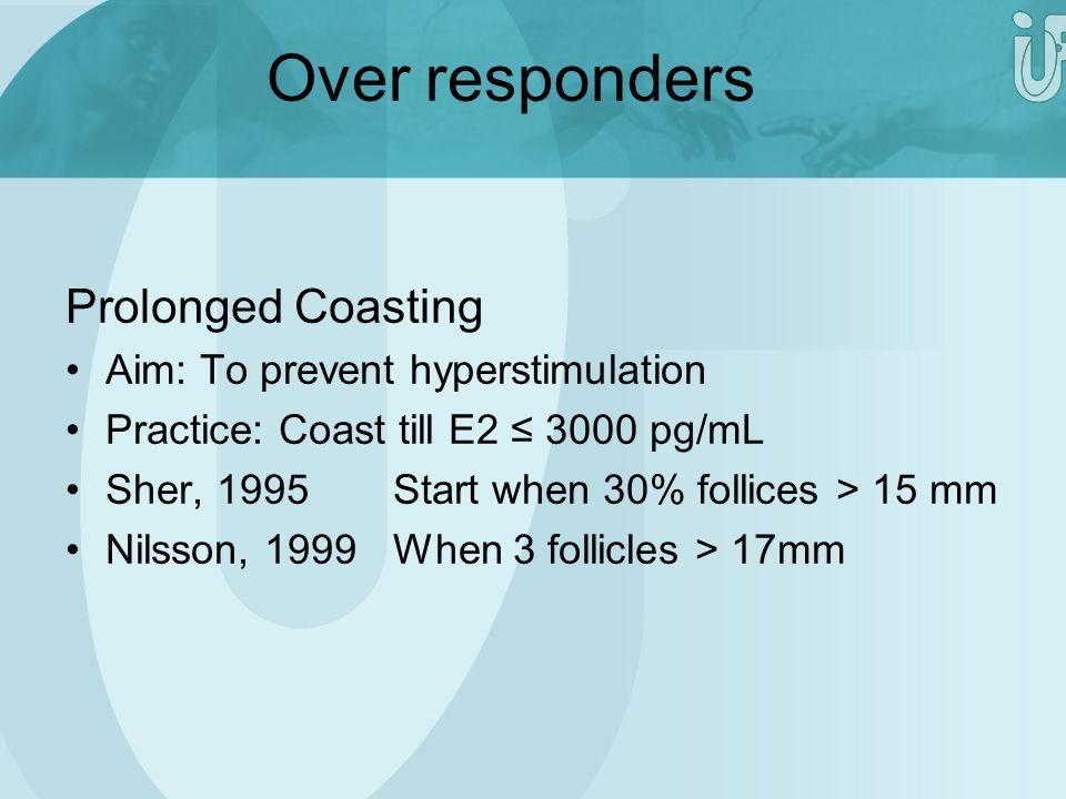 Over responders Prolonged Coasting Aim: To prevent hyperstimulation