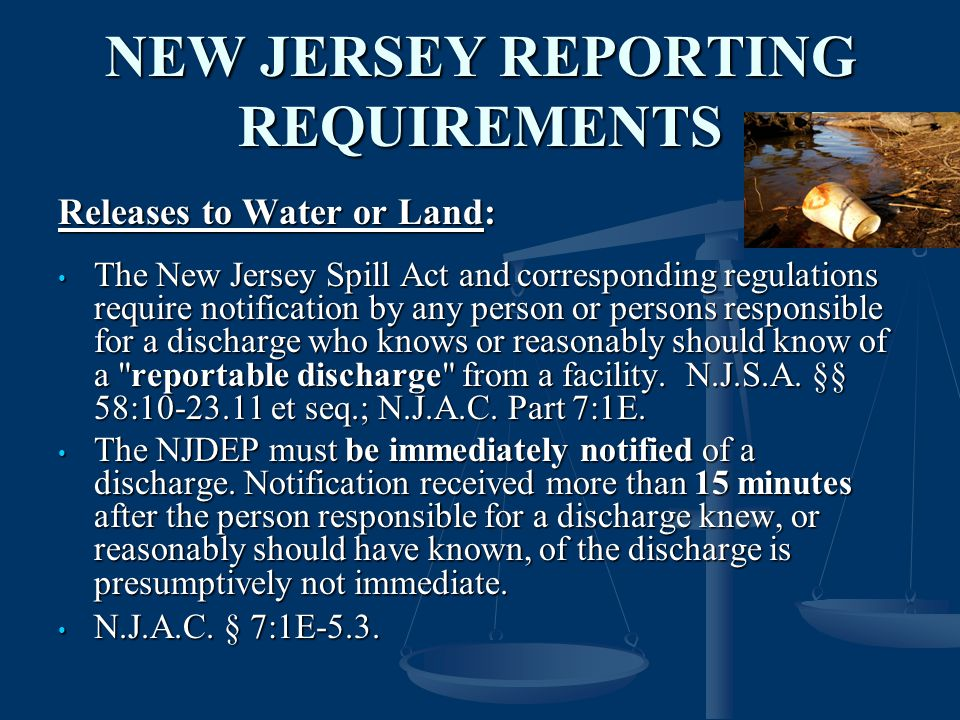 NEW JERSEY REPORTING REQUIREMENTS