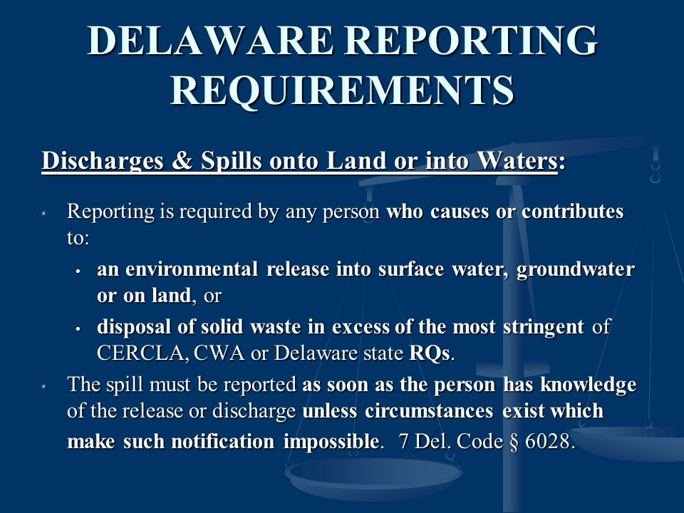 DELAWARE REPORTING REQUIREMENTS
