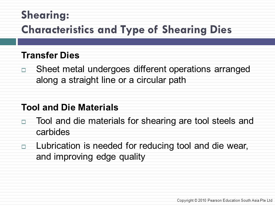 Shearing: Characteristics and Type of Shearing Dies