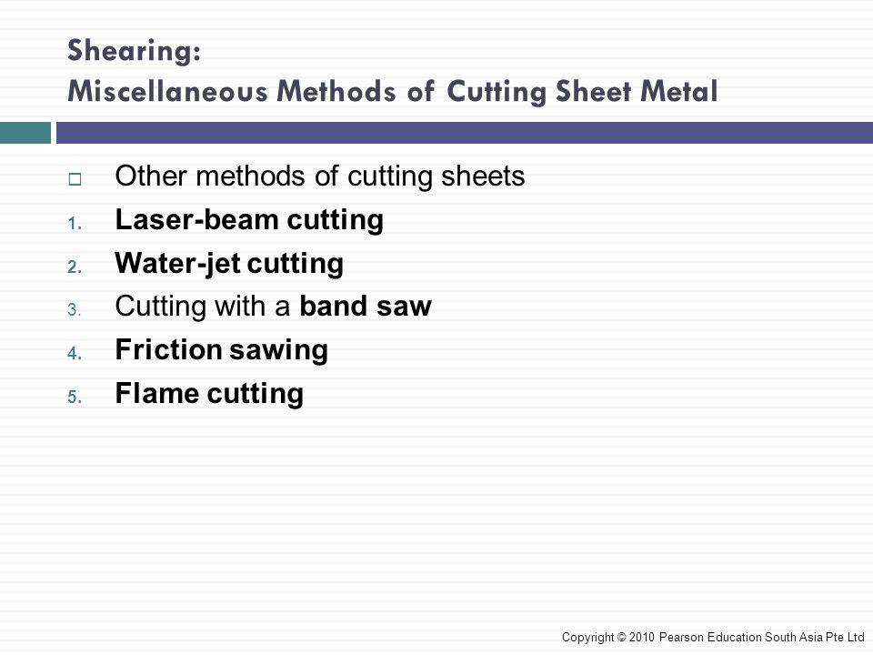 Shearing: Miscellaneous Methods of Cutting Sheet Metal