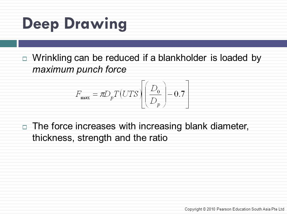 Deep Drawing Wrinkling can be reduced if a blankholder is loaded by maximum punch force.