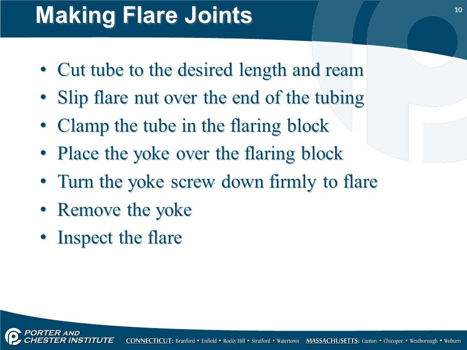 Making Flare Joints Cut tube to the desired length and ream