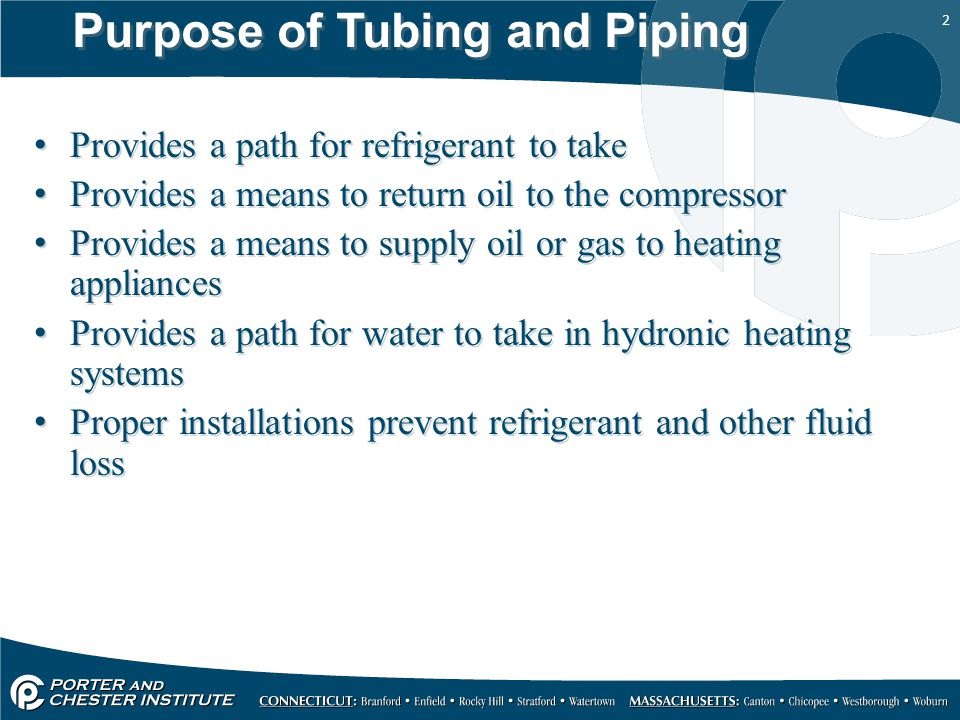 Purpose of Tubing and Piping