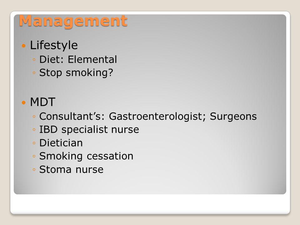 Management Lifestyle MDT Diet: Elemental Stop smoking