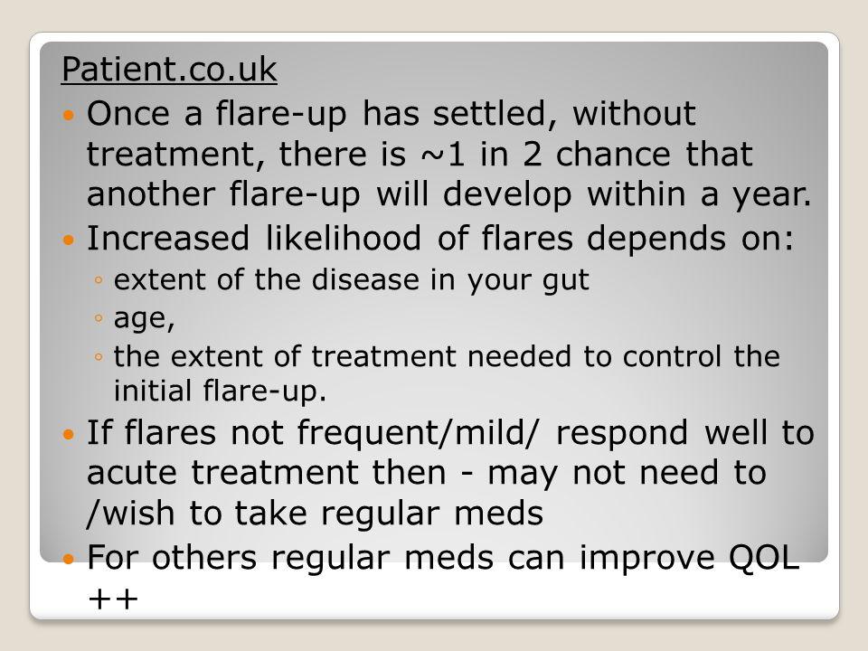 Increased likelihood of flares depends on: