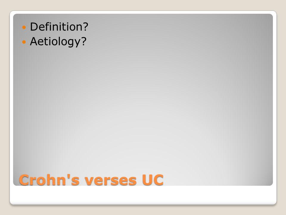 Crohn s verses UC Definition Aetiology