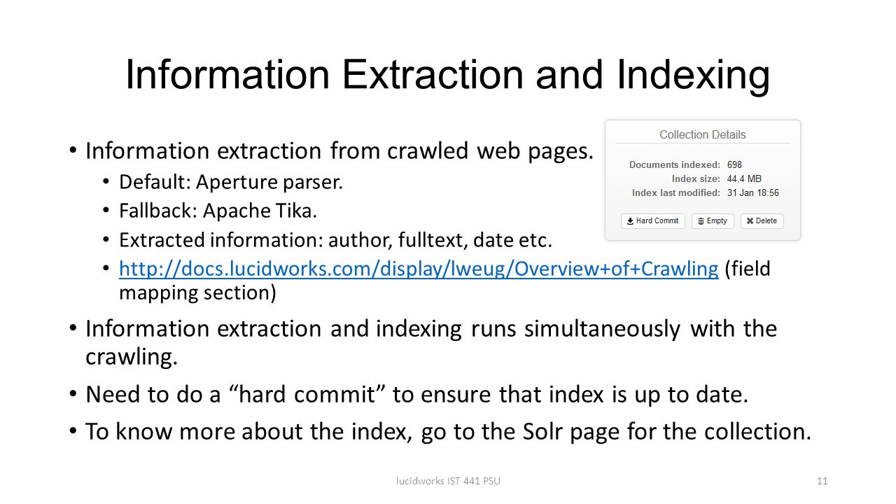 Information Extraction and Indexing