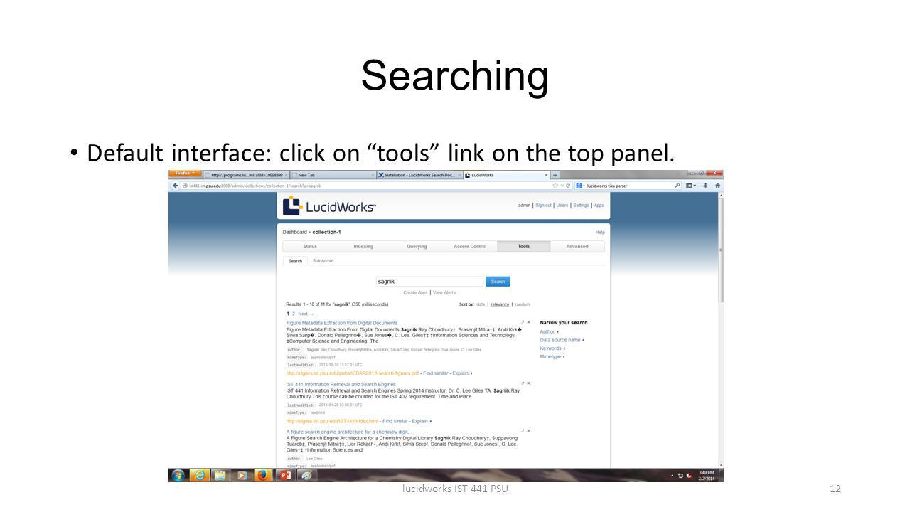 Searching Default interface: click on tools link on the top panel.