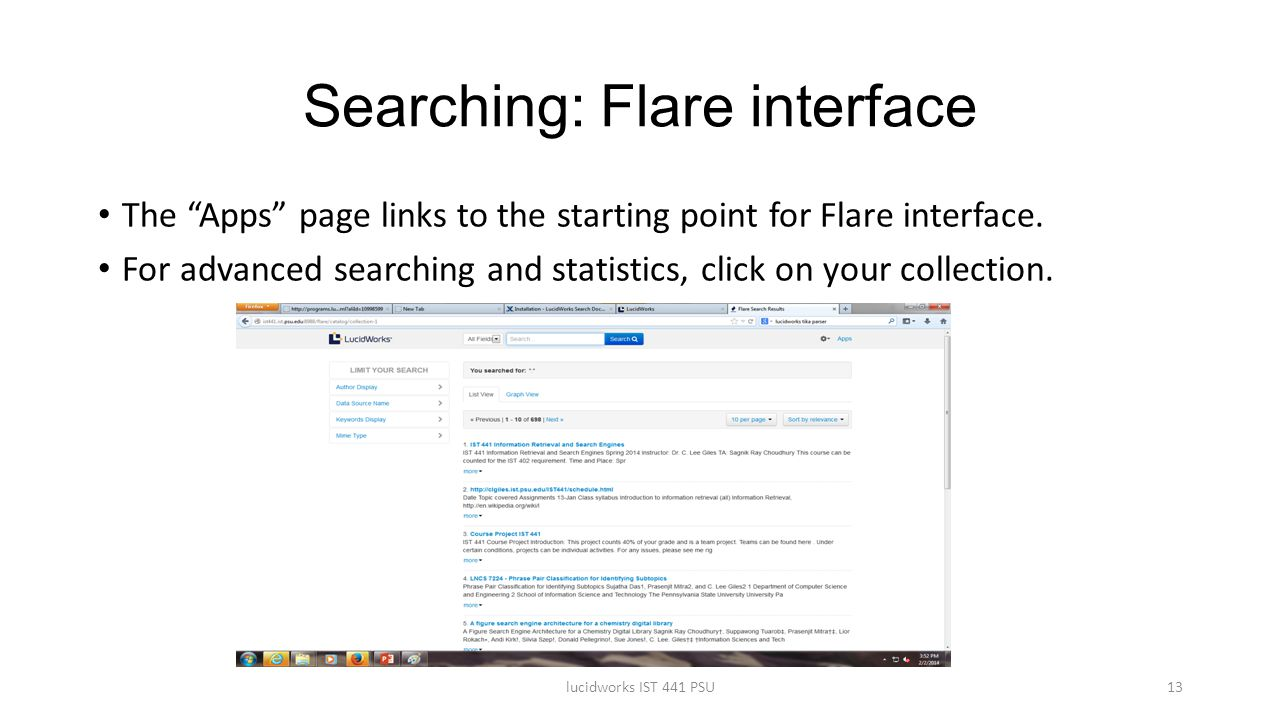 Searching: Flare interface