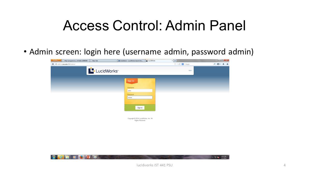 Access Control: Admin Panel