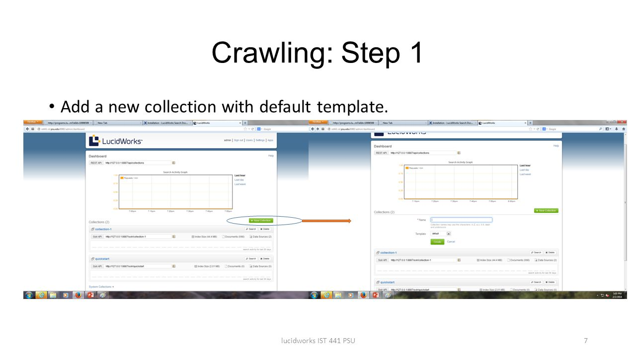 Crawling: Step 1 Add a new collection with default template.