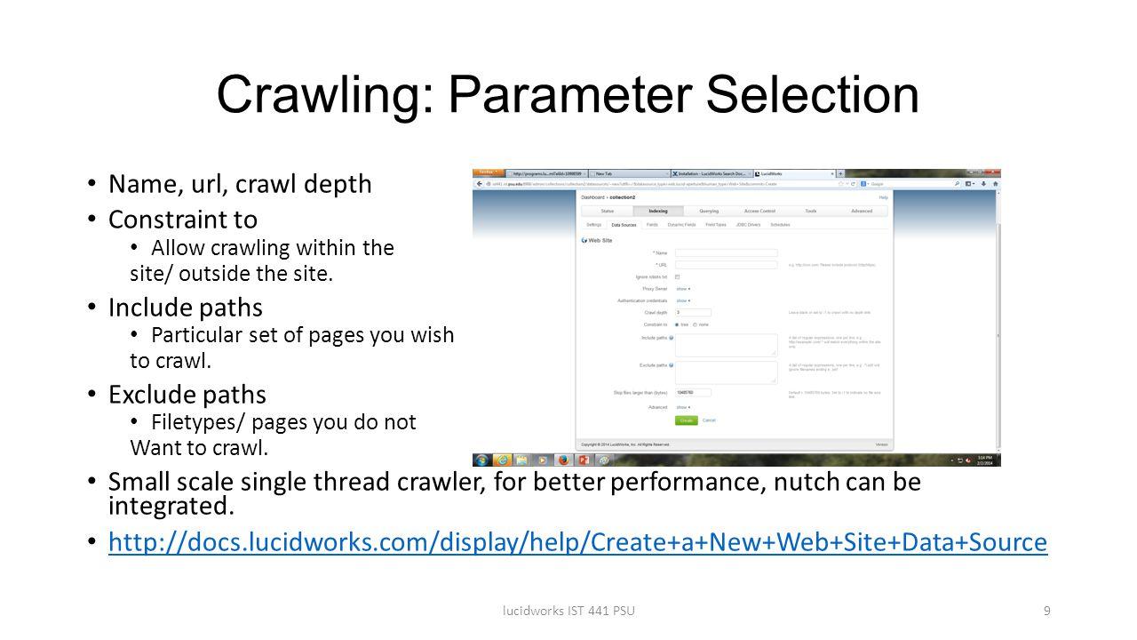 Crawling: Parameter Selection