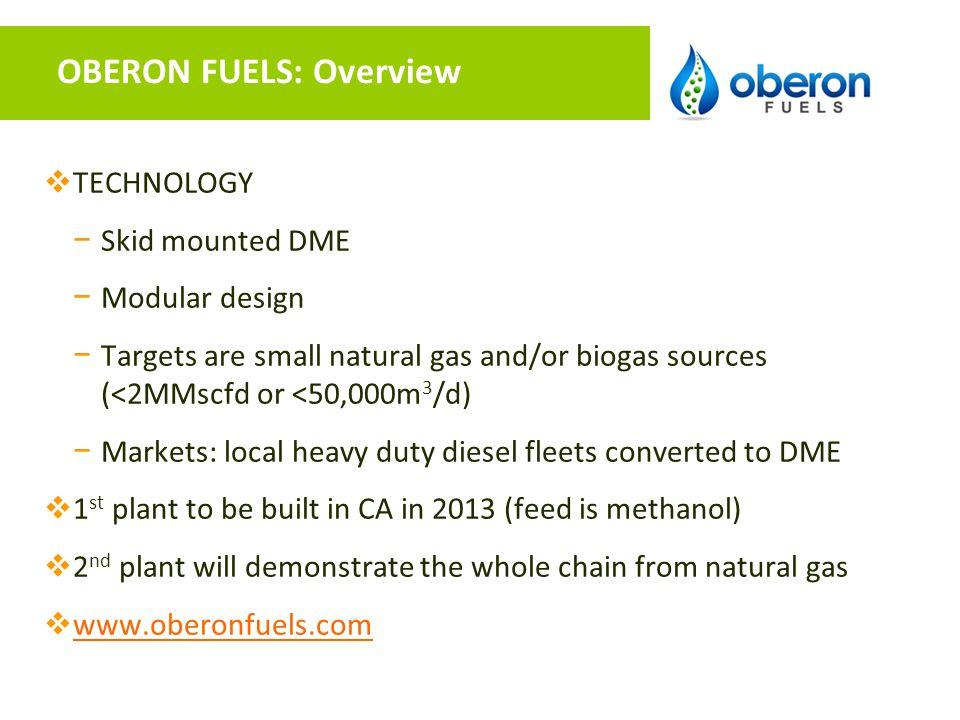 OBERON FUELS: Overview
