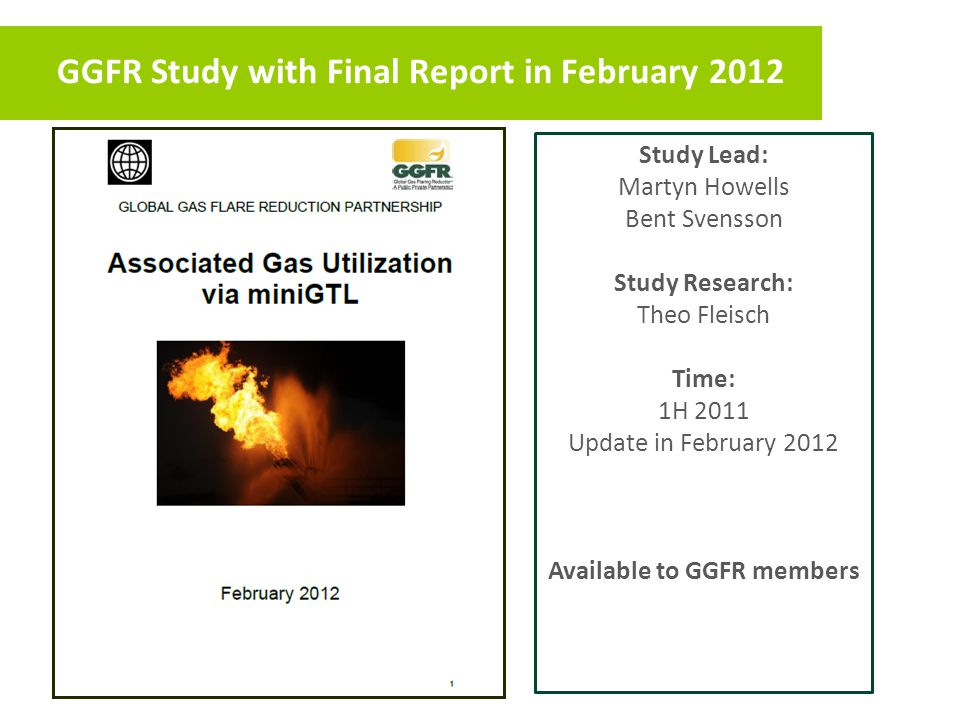 GGFR Study with Final Report in February 2012