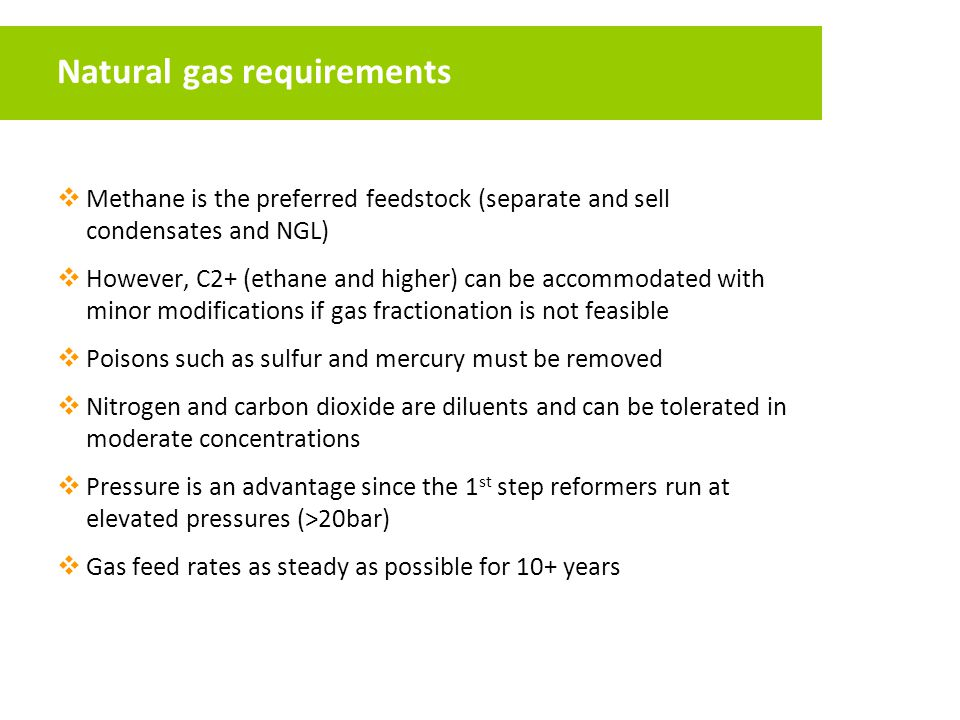 Natural gas requirements