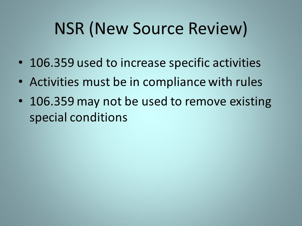 NSR (New Source Review)