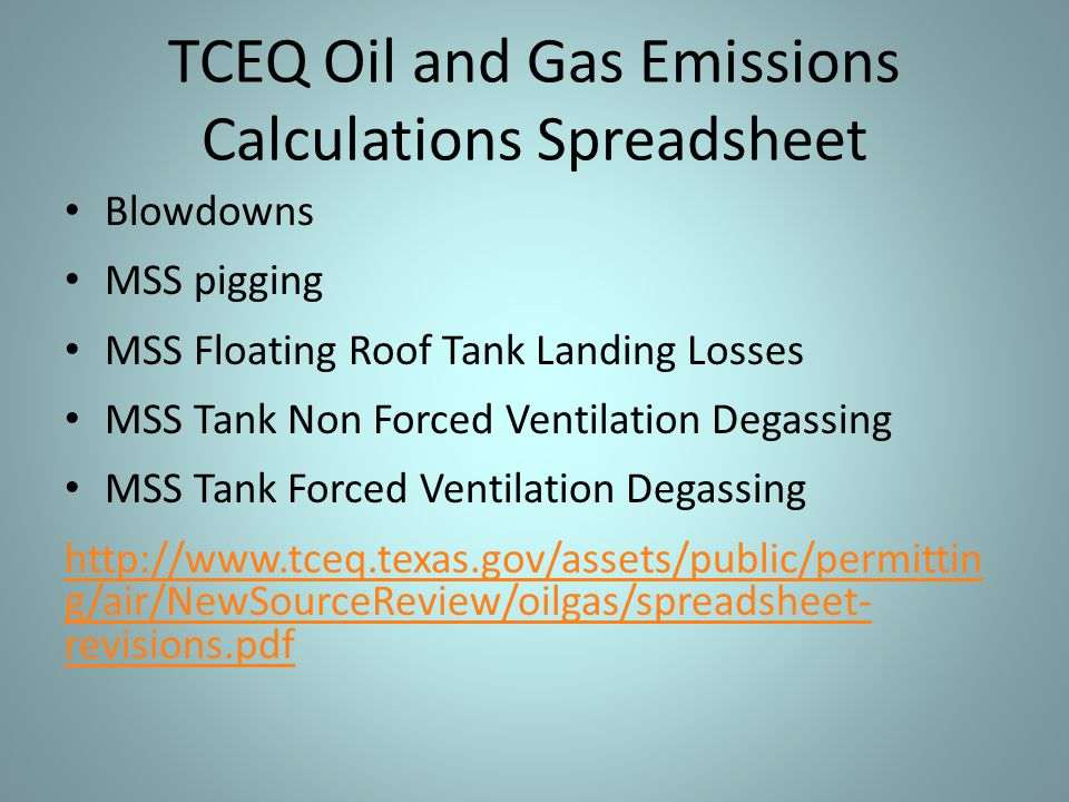TCEQ Oil and Gas Emissions Calculations Spreadsheet