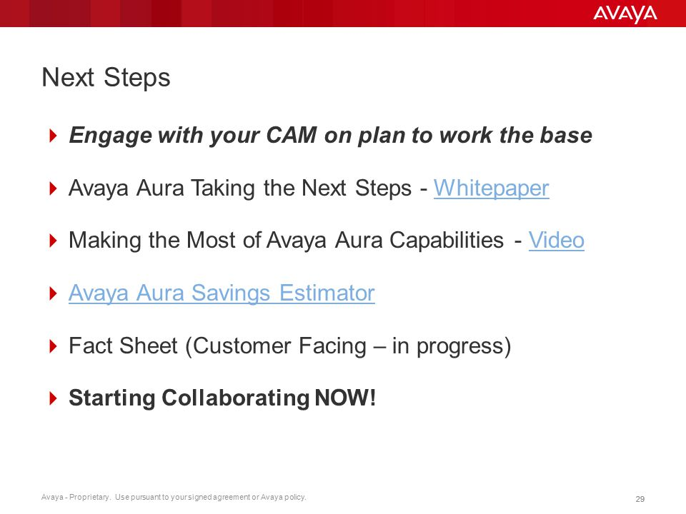 Next Steps Engage with your CAM on plan to work the base