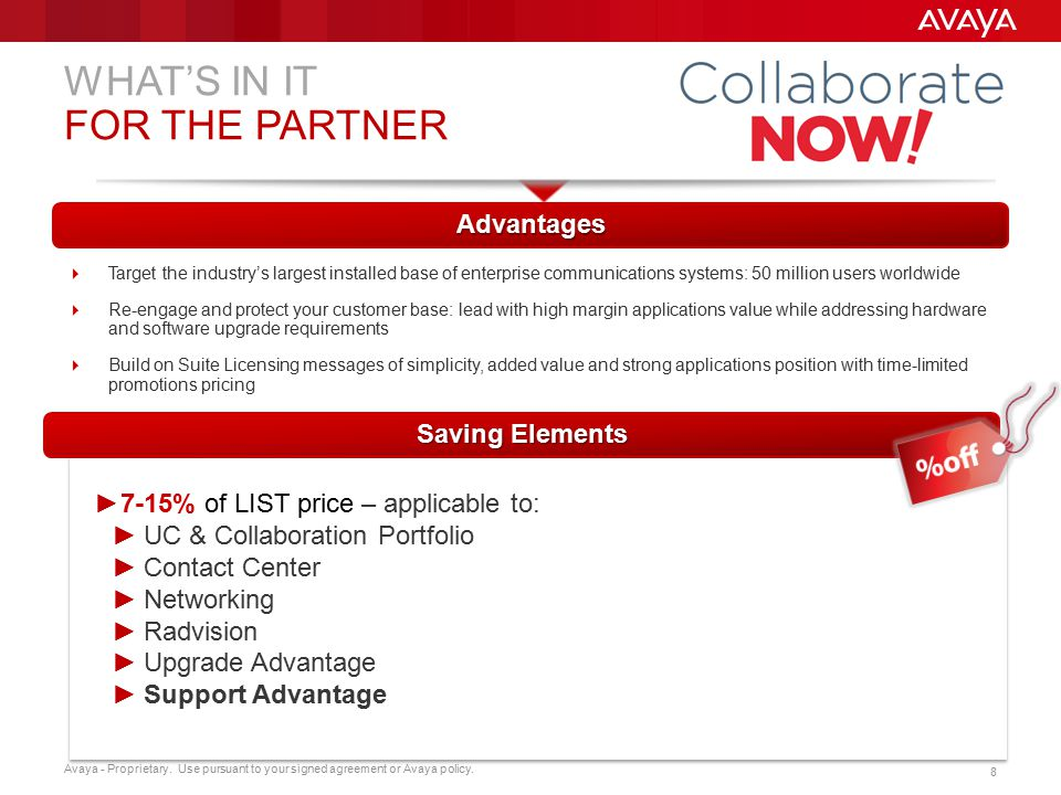 WHAT'S IN IT FOR THE PARTNER Advantages Saving Elements