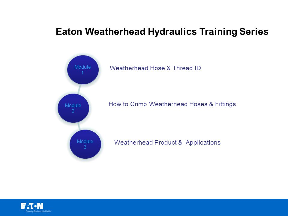 Eaton Weatherhead Hydraulics Training Series