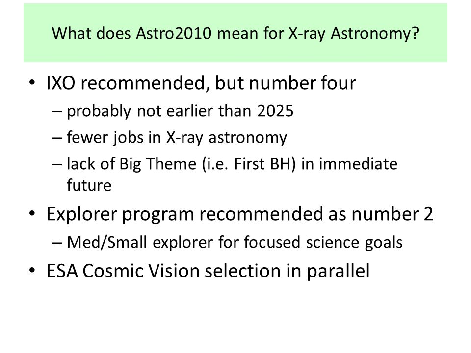 What does Astro2010 mean for X-ray Astronomy