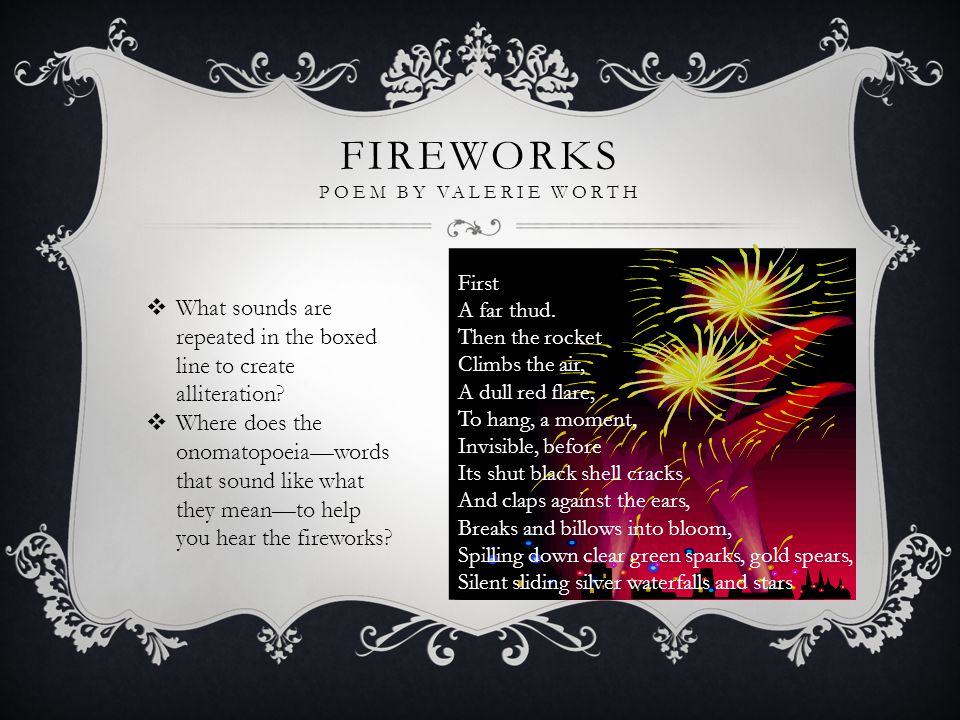 Fireworks Poem by Valerie Worth