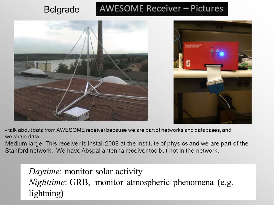 Daytime: monitor solar activity