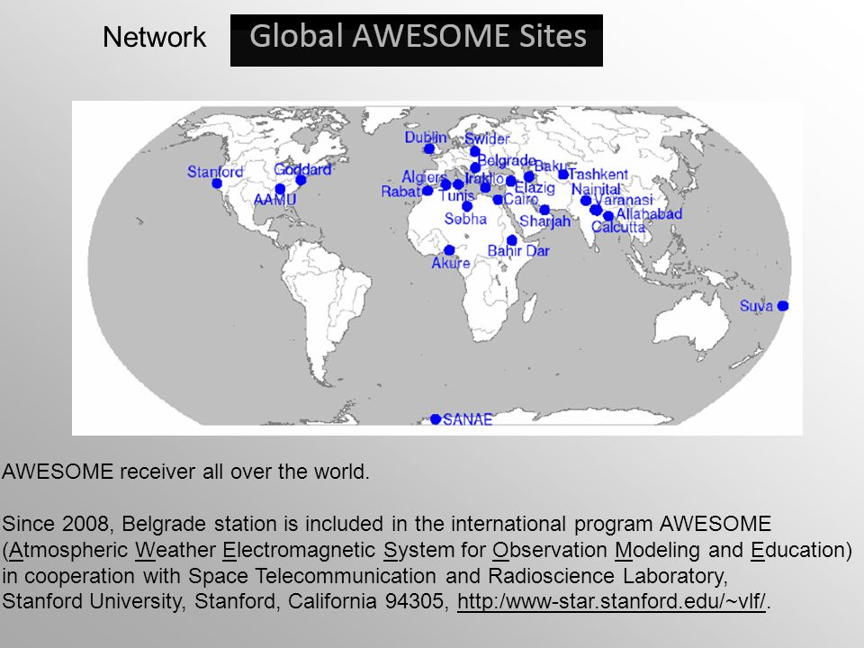 Network AWESOME receiver all over the world.