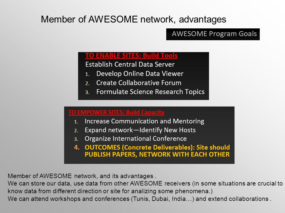 Member of AWESOME network, advantages