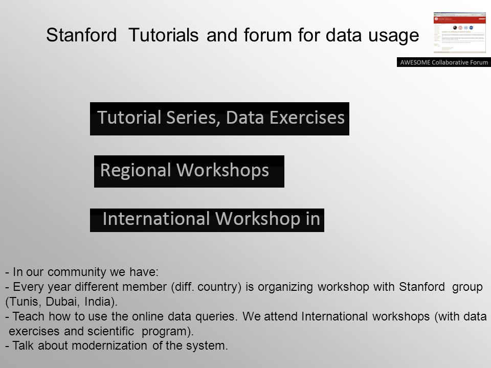 Stanford Tutorials and forum for data usage