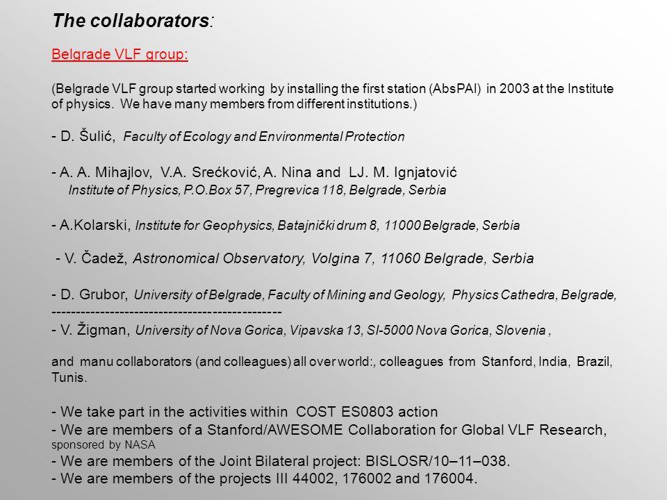 The collaborators: Belgrade VLF group: