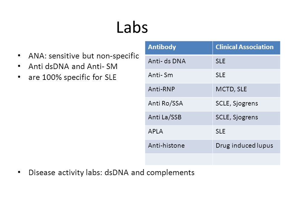 Labs ANA: sensitive but non-specific Anti dsDNA and Anti- SM