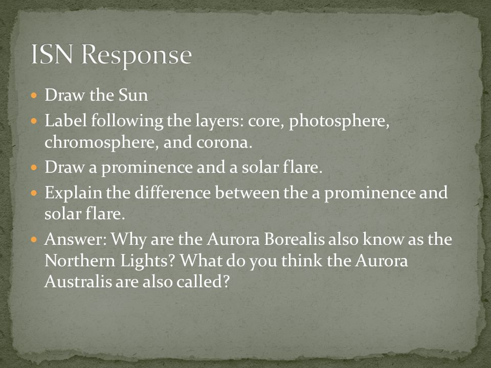 ISN Response Draw the Sun