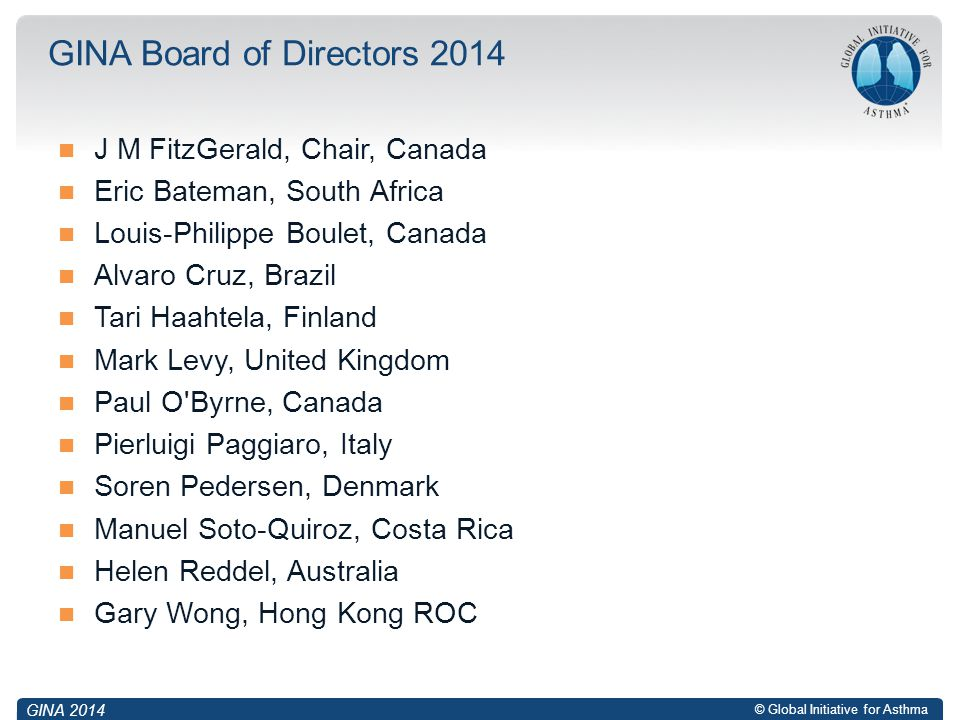 GINA Board of Directors 2014