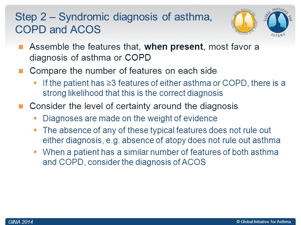 Step 2 – Syndromic diagnosis of asthma, COPD and ACOS