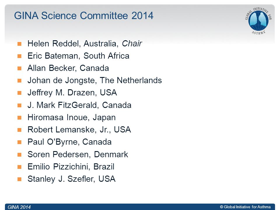 GINA Science Committee 2014