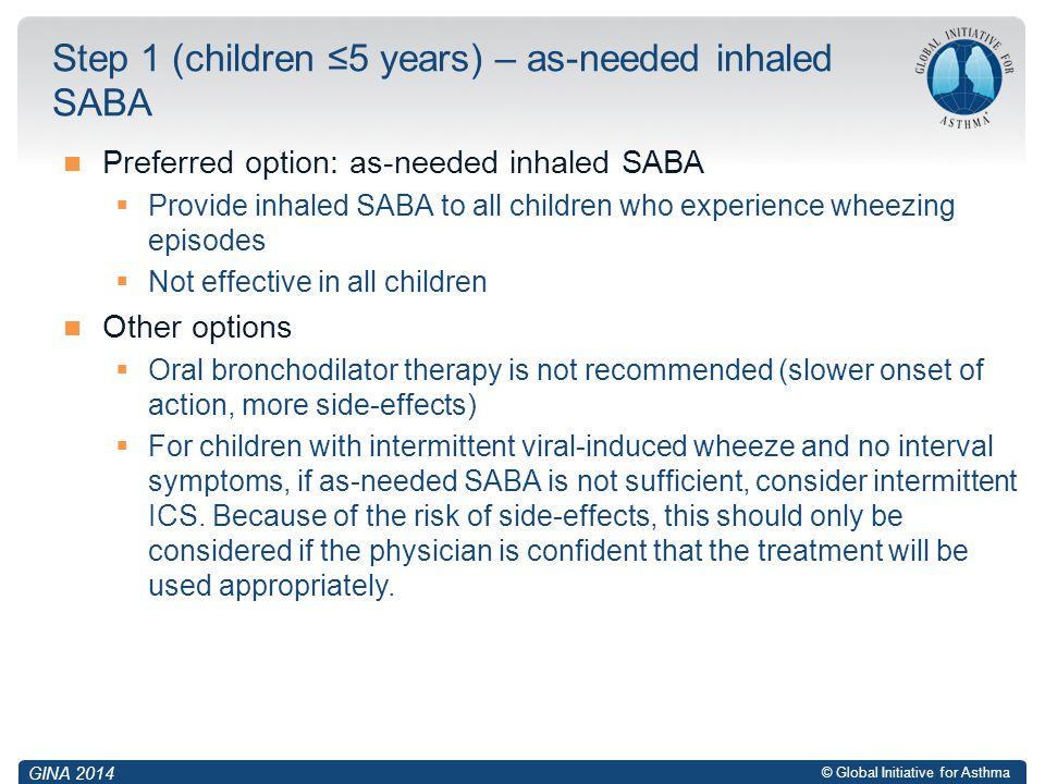 Step 1 (children ≤5 years) – as-needed inhaled SABA