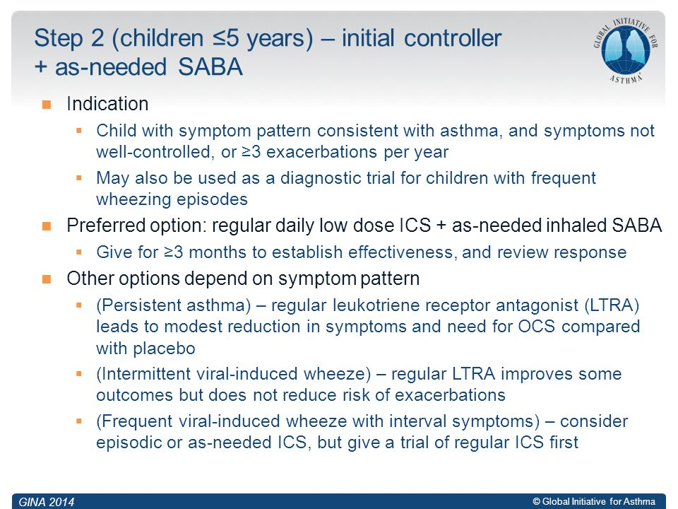 Step 2 (children ≤5 years) – initial controller + as-needed SABA