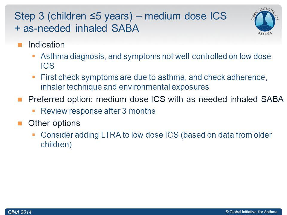Step 3 (children ≤5 years) – medium dose ICS + as-needed inhaled SABA