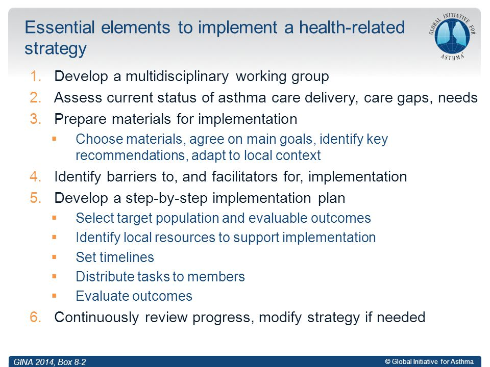 Essential elements to implement a health-related strategy